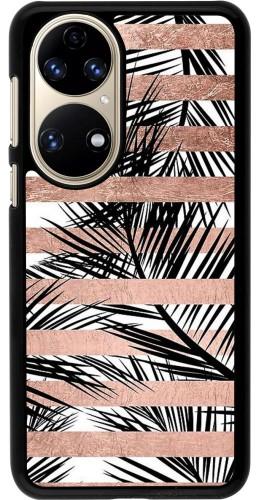 Coque Huawei P50 - Palm trees gold stripes
