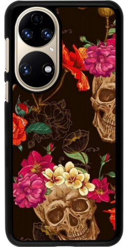 Coque Huawei P50 - Skulls and flowers