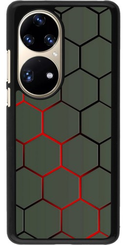 Coque Huawei P50 Pro - Geometric Line red