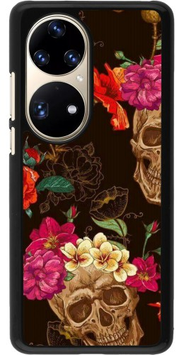 Coque Huawei P50 Pro - Skulls and flowers