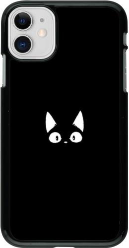 Coque iPhone 11 - Funny cat on black