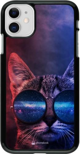 Coque iPhone 11 - Red Blue Cat Glasses