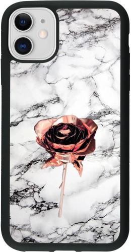 Coque iPhone 11 - Silicone rigide noir Marble Rose Gold