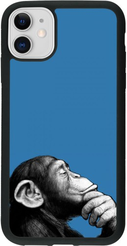 Coque iPhone 11 - Silicone rigide noir Monkey Pop Art