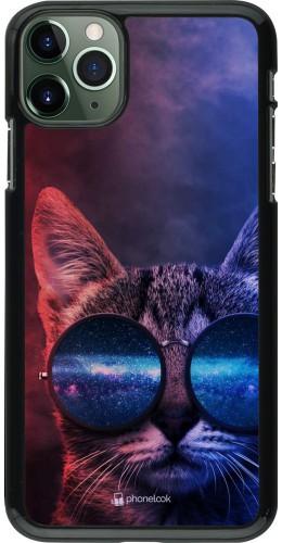 Coque iPhone 11 Pro Max - Red Blue Cat Glasses