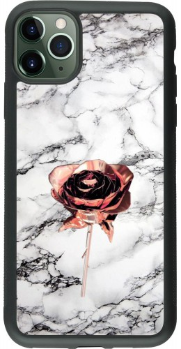 Coque iPhone 11 Pro Max - Silicone rigide noir Marble Rose Gold