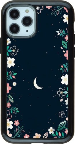 Coque iPhone 11 Pro - Hybrid Armor noir Flowers space