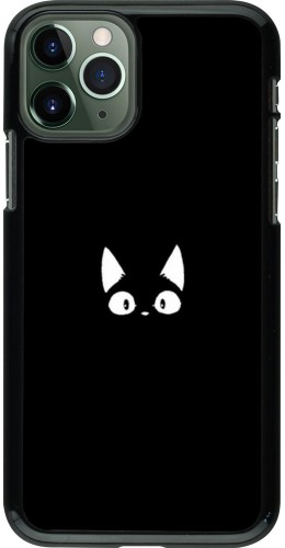 Coque iPhone 11 Pro - Funny cat on black