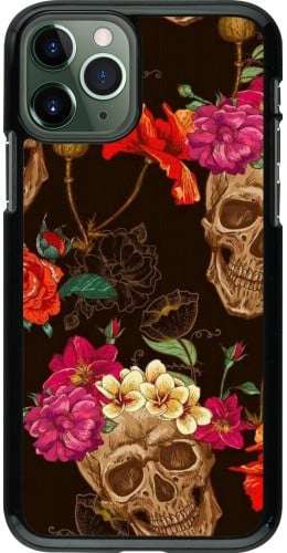 Coque iPhone 11 Pro - Skulls and flowers