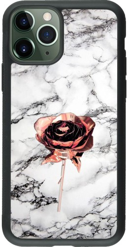 Coque iPhone 11 Pro - Silicone rigide noir Marble Rose Gold