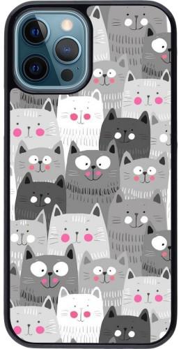 Coque iPhone 12 / 12 Pro - Chats gris troupeau