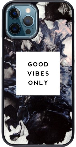 Coque iPhone 12 / 12 Pro - Marble Good Vibes Only