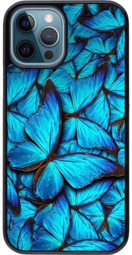 Coque iPhone 12 / 12 Pro - Papillon bleu