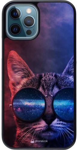 Coque iPhone 12 / 12 Pro - Red Blue Cat Glasses
