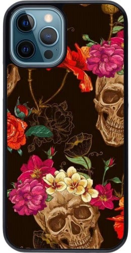 Coque iPhone 12 / 12 Pro - Skulls and flowers