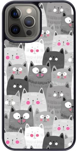 Coque iPhone 12 Pro Max - Chats gris troupeau