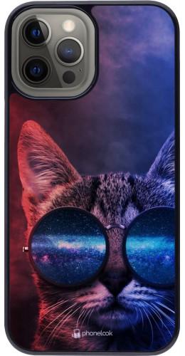 Coque iPhone 12 Pro Max - Red Blue Cat Glasses