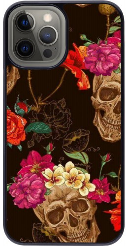 Coque iPhone 12 Pro Max - Skulls and flowers