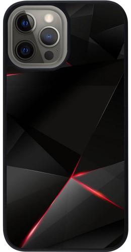 Coque iPhone 12 Pro Max - Silicone rigide noir Black Red Lines