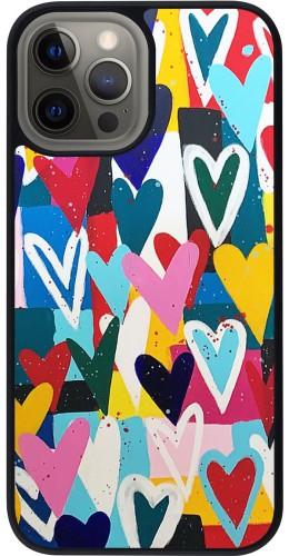 Coque iPhone 12 Pro Max - Silicone rigide noir Joyful Hearts
