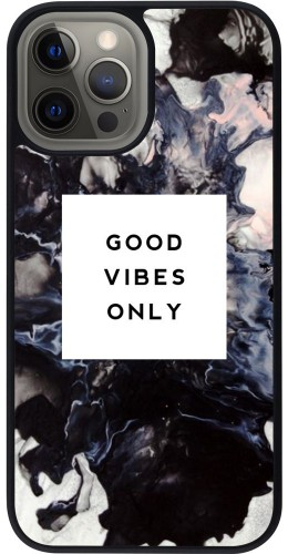 Coque iPhone 12 Pro Max - Silicone rigide noir Marble Good Vibes Only