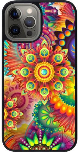 Coque iPhone 12 Pro Max - Silicone rigide noir Multicolor aztec