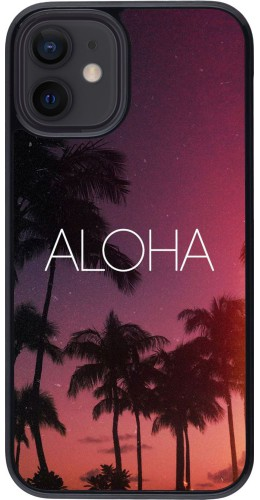 Coque iPhone 12 mini - Aloha Sunset Palms