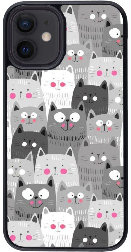 Coque iPhone 12 mini - Chats gris troupeau