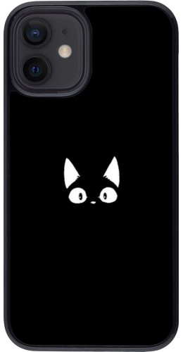Coque iPhone 12 mini - Funny cat on black