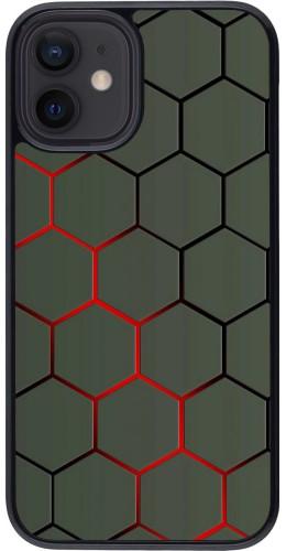 Coque iPhone 12 mini - Geometric Line red