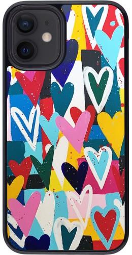 Coque iPhone 12 mini - Joyful Hearts