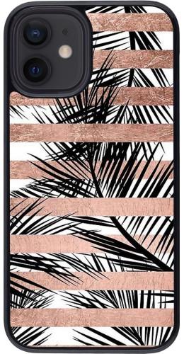 Coque iPhone 12 mini - Palm trees gold stripes
