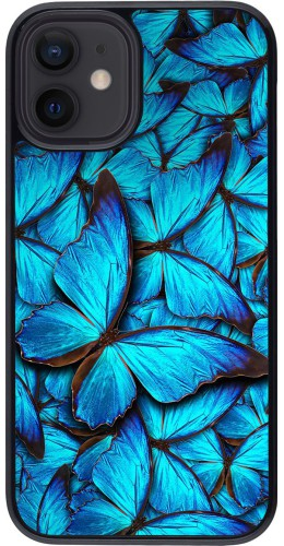 Coque iPhone 12 mini - Papillon bleu