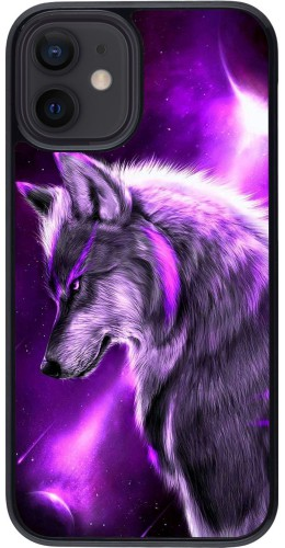 Coque iPhone 12 mini - Purple Sky Wolf