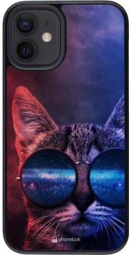 Coque iPhone 12 mini - Red Blue Cat Glasses