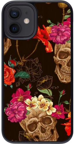 Coque iPhone 12 mini - Skulls and flowers