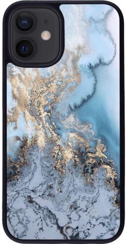Coque iPhone 12 mini - Silicone rigide noir Marble 04