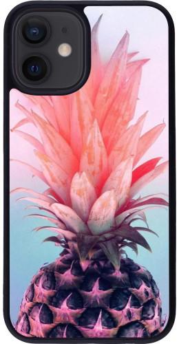 Coque iPhone 12 mini - Silicone rigide noir Purple Pink Pineapple