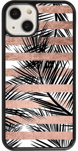 Coque iPhone 13 - Palm trees gold stripes