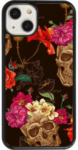 Coque iPhone 13 - Skulls and flowers