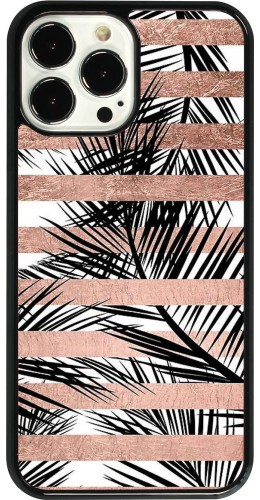 Coque iPhone 13 Pro Max - Palm trees gold stripes