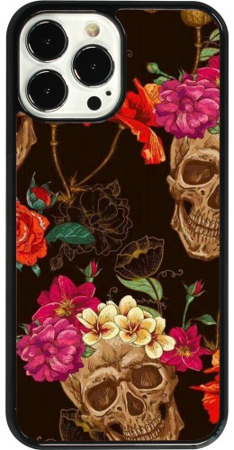 Coque iPhone 13 Pro Max - Skulls and flowers