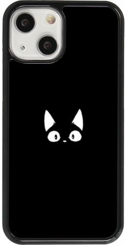 Coque iPhone 13 mini - Funny cat on black