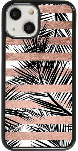 Coque iPhone 13 mini - Palm trees gold stripes