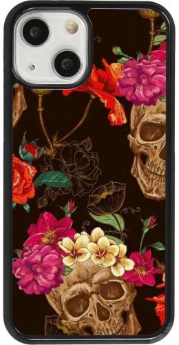 Coque iPhone 13 mini - Skulls and flowers