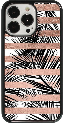 Coque iPhone 13 Pro - Palm trees gold stripes