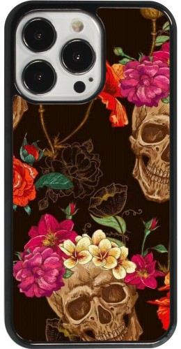 Coque iPhone 13 Pro - Skulls and flowers