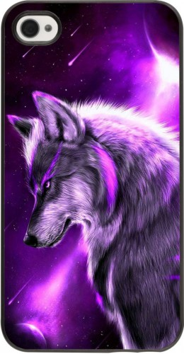Coque iPhone 4/4s - Purple Sky Wolf