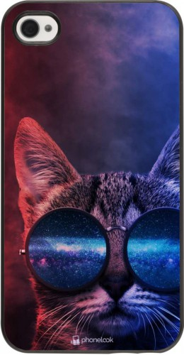 Coque iPhone 4/4s - Red Blue Cat Glasses