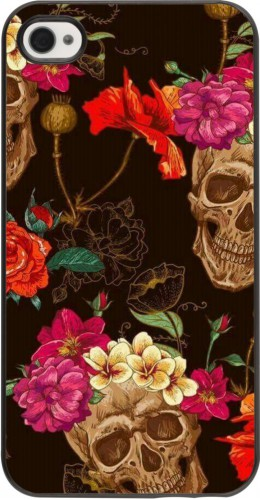 Coque iPhone 4/4s - Skulls and flowers